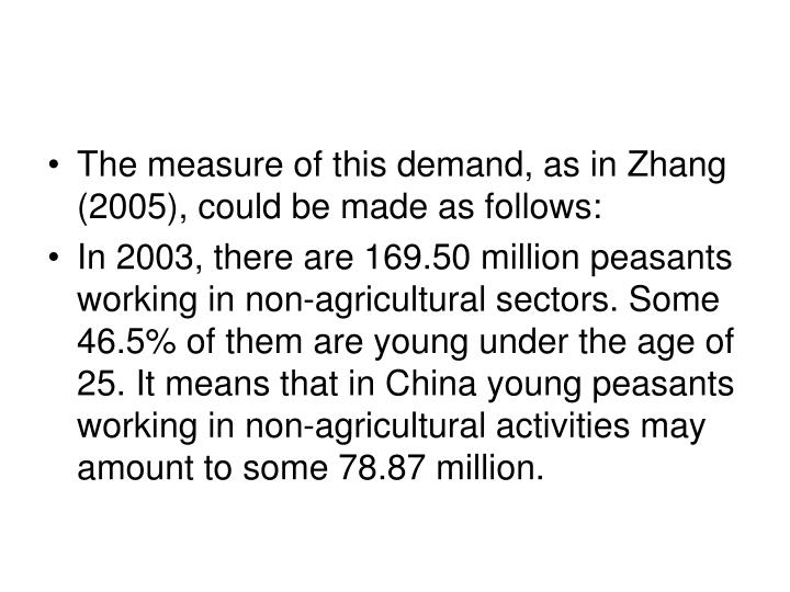 The measure of this demand, as in Zhang (2005), could be made as follows: