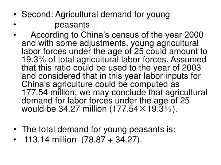 Second: Agricultural demand for young
