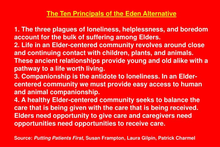 The Ten Principals of the Eden Alternative