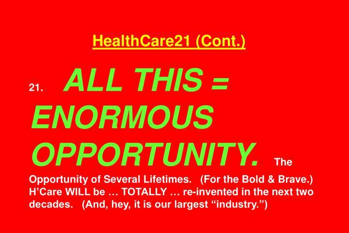 HealthCare21 (Cont.)
