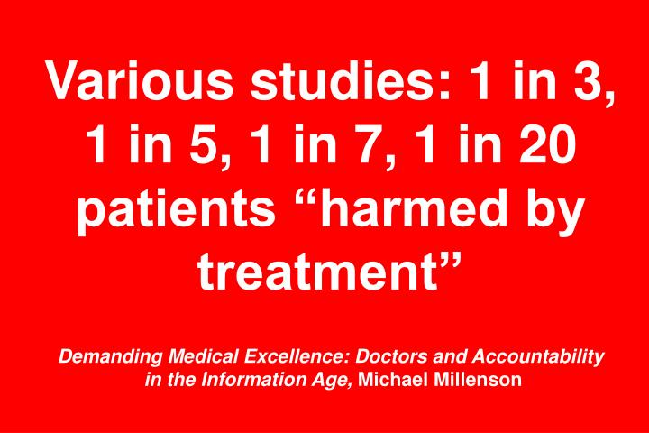 "Various studies: 1 in 3, 1 in 5, 1 in 7, 1 in 20 patients ""harmed by treatment"""
