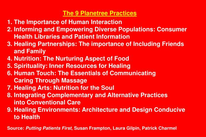 The 9 Planetree Practices