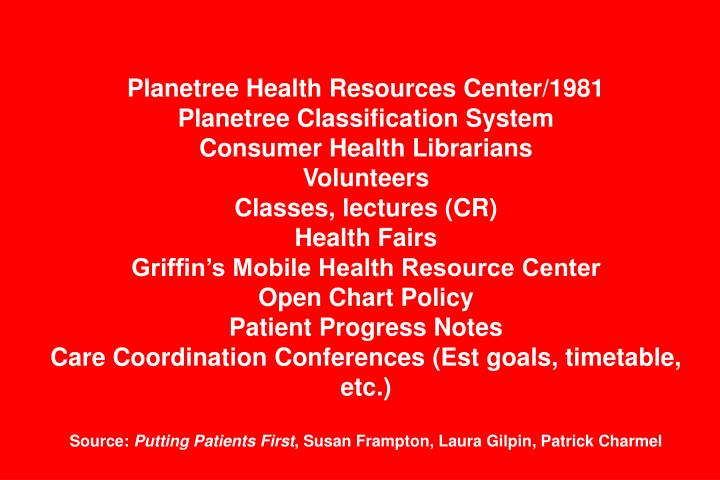 Planetree Health Resources Center/1981