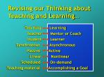 revising our thinking about teaching and learning