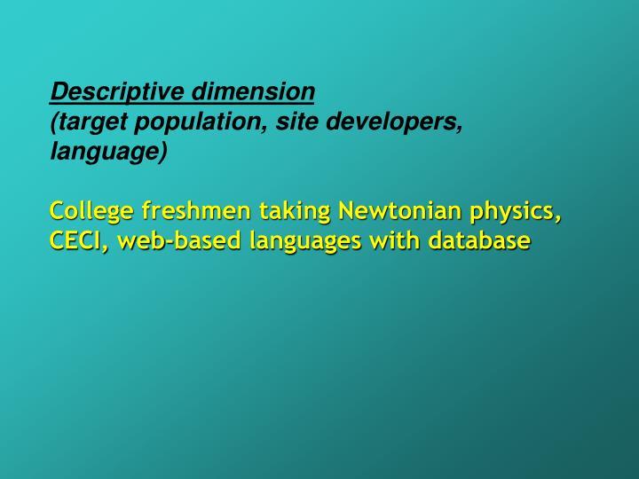 Descriptive dimension