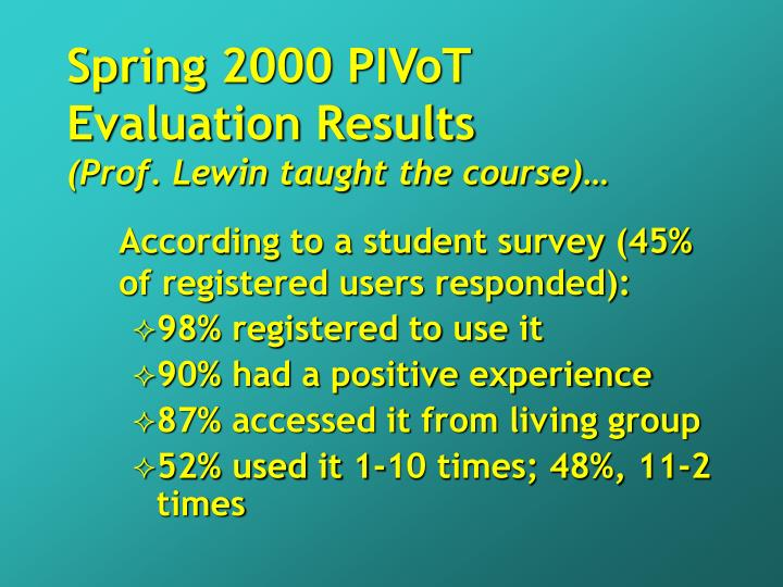 Spring 2000 PIVoT Evaluation Results