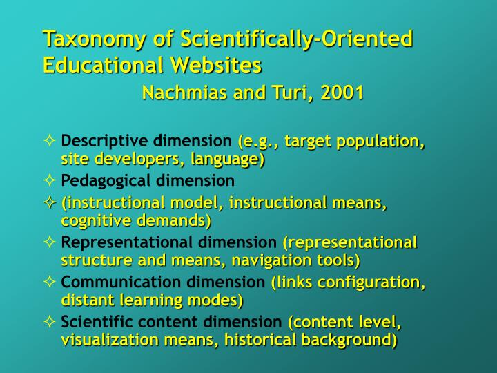 Taxonomy of Scientifically-Oriented Educational Websites