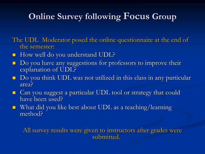 Online Survey following