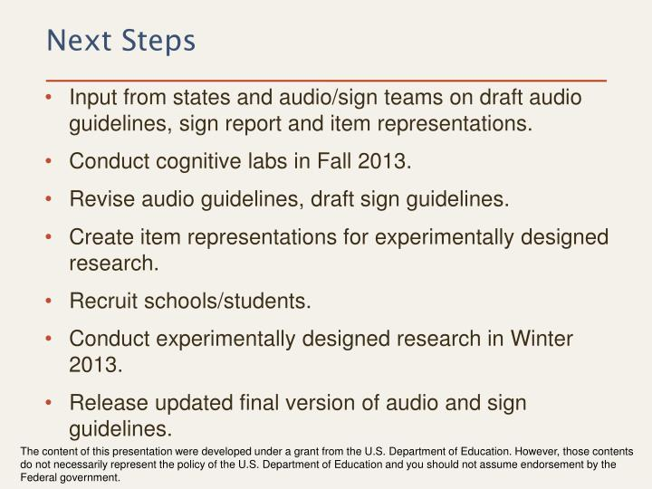 Input from states and audio/sign teams on draft audio guidelines, sign report and item representations.