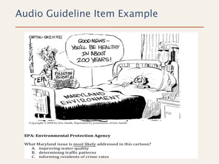 Audio Guideline Item Example