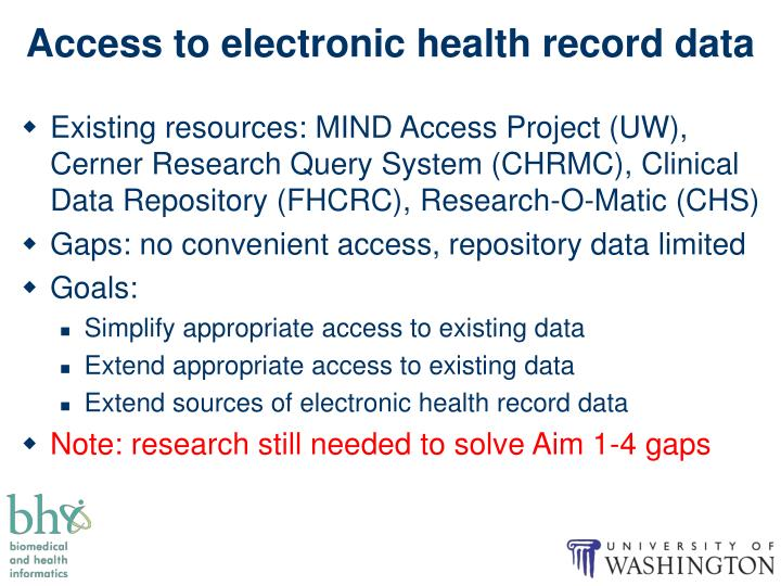 Access to electronic health record data