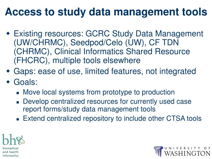 Access to study data management tools