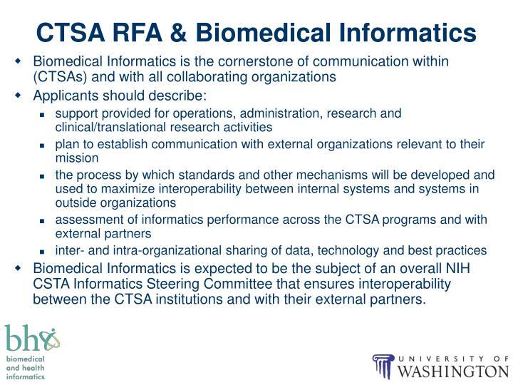 CTSA RFA & Biomedical Informatics