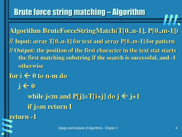 Brute force string matching – Algorithm