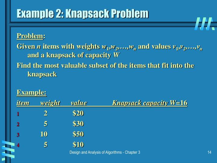 Example 2: Knapsack Problem
