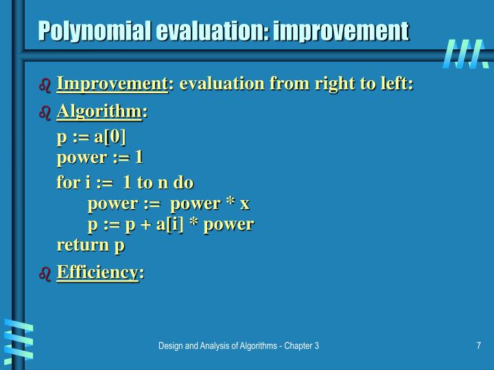 Polynomial evaluation: improvement