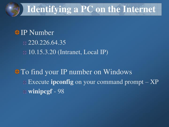 Identifying a PC on the Internet