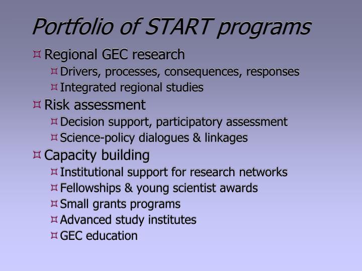 Portfolio of START programs