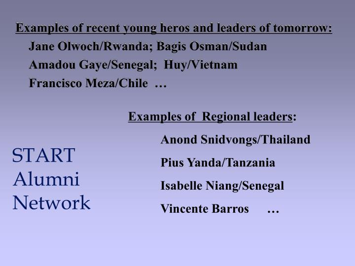 Examples of recent young heros and leaders of tomorrow