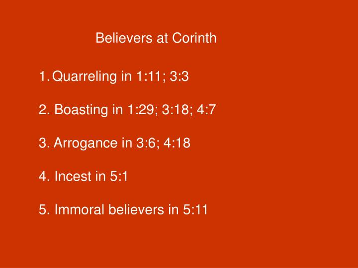 Believers at Corinth