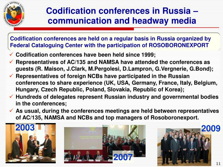 Codification conferences in Russia – communication and headway media