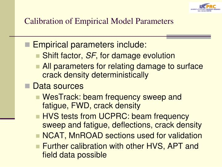 Calibration of Empirical Model Parameters