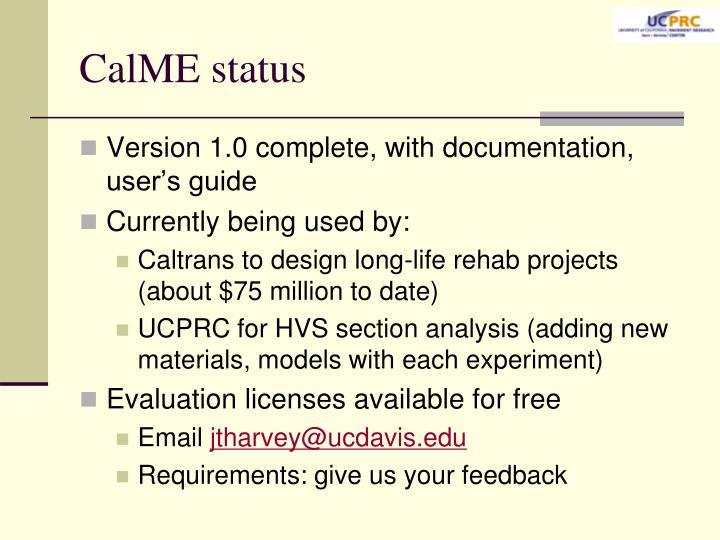 CalME status
