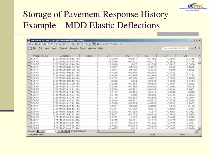 Storage of Pavement Response History Example – MDD Elastic Deflections