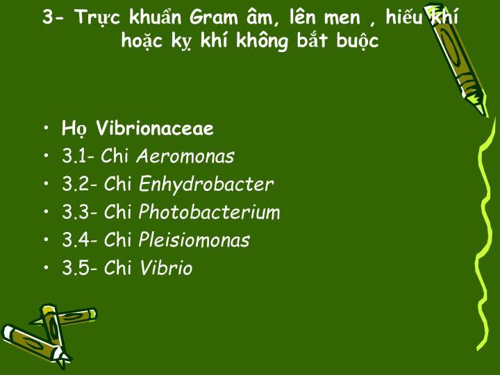 3- Trực khuẩn Gram âm, lên men , hiếu khí hoặc kỵ khí không bắt buộc