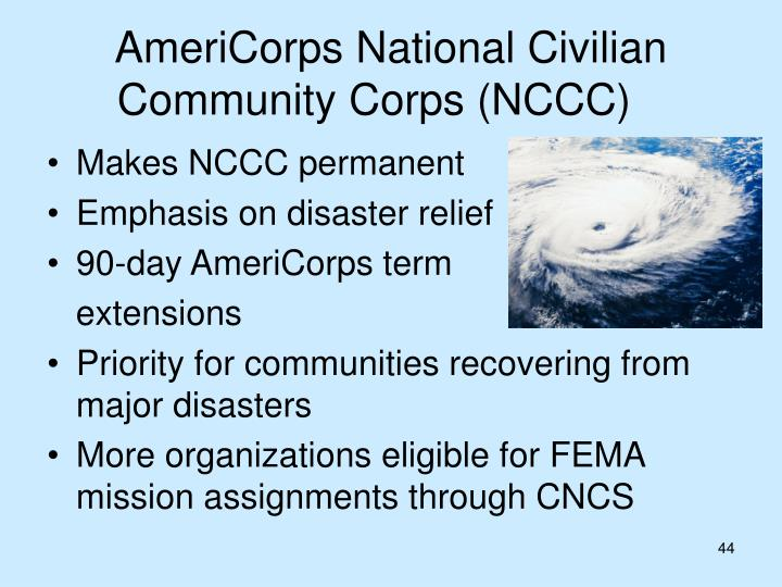 AmeriCorps National Civilian Community Corps (NCCC)