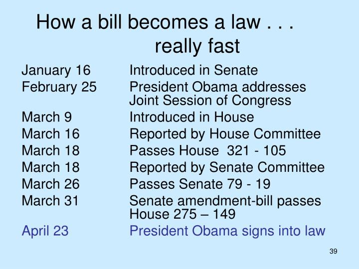 How a bill becomes a law . . .		really fast