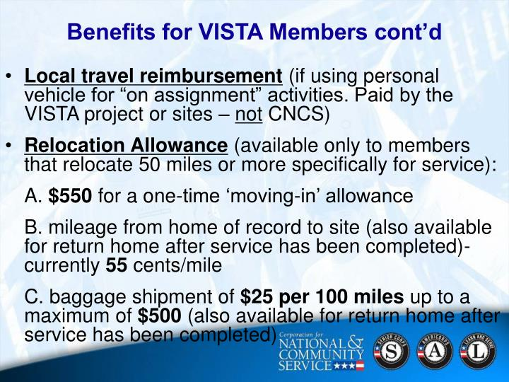 Benefits for VISTA Members cont'd