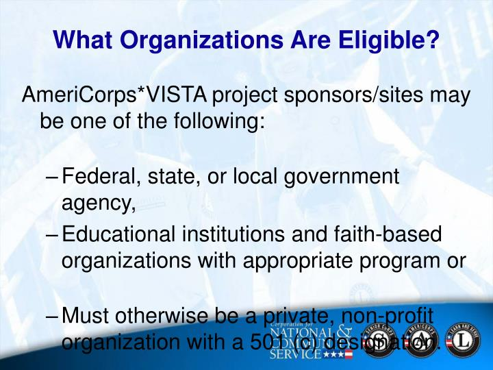 What Organizations Are Eligible?