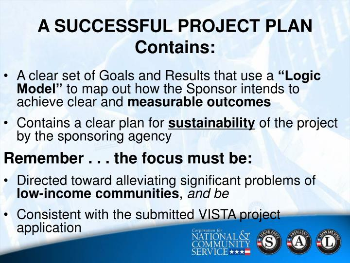 A SUCCESSFUL PROJECT PLAN Contains: