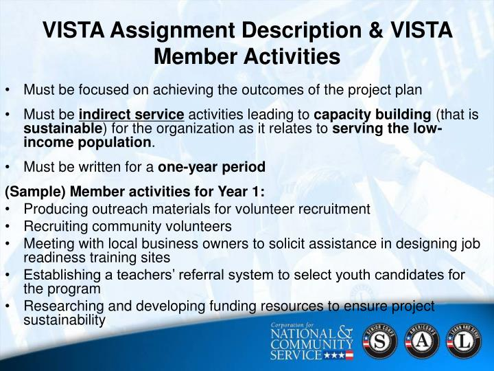 VISTA Assignment Description & VISTA Member Activities