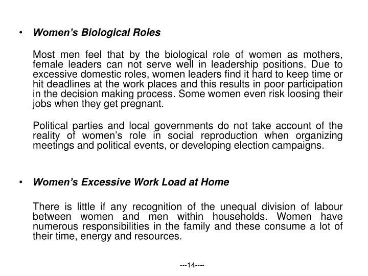 Women's Biological Roles