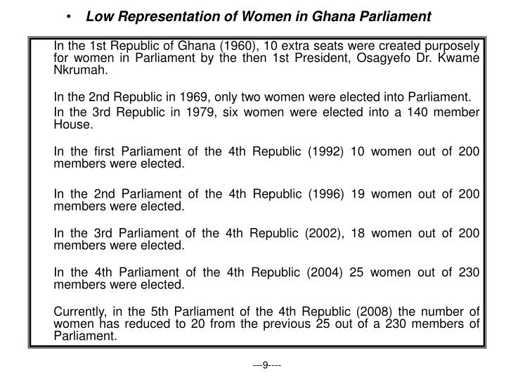 Low Representation of Women in Ghana Parliament