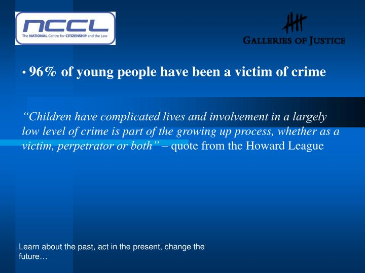 96% of young people have been a victim of crime