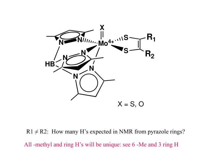R1 ≠ R2:  How many H's expected in NMR from pyrazole rings?