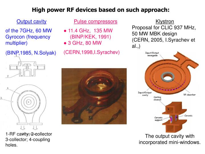 High power RF devices based on such approach: