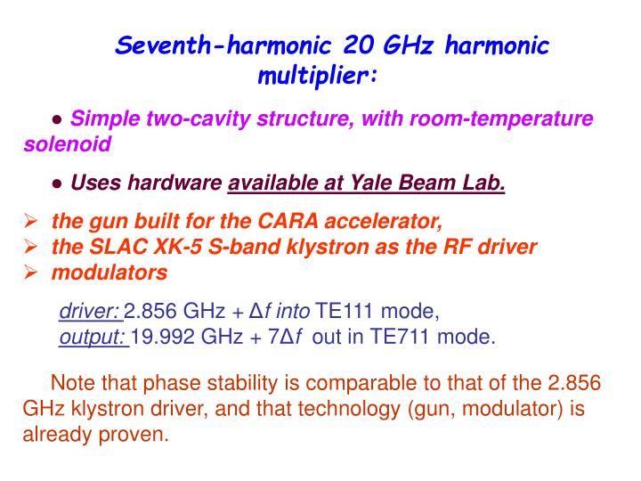 Seventh-harmonic 20 GHz harmonic multiplier: