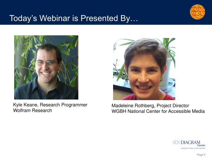 Today s webinar is presented by