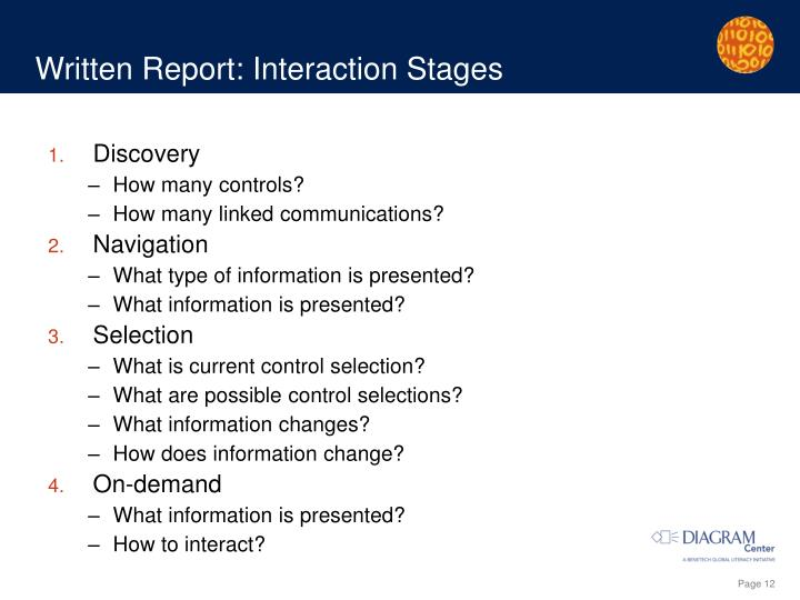 Written Report: Interaction Stages