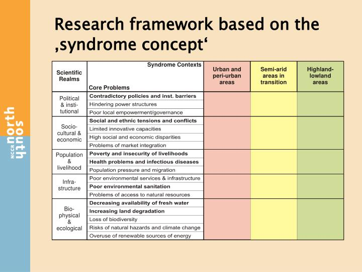 Research framework based on the 'syndrome concept'