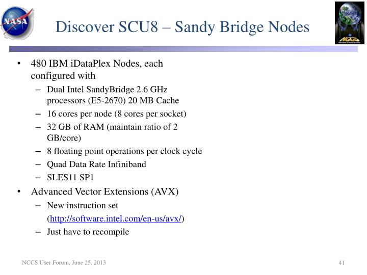 Discover SCU8 – Sandy Bridge Nodes
