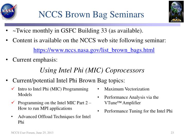 NCCS Brown Bag Seminars