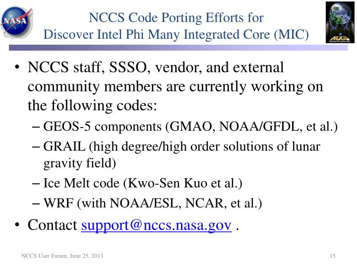 NCCS Code Porting Efforts for