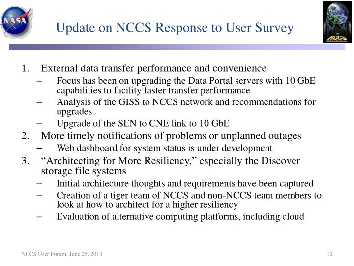 Update on NCCS Response to User Survey