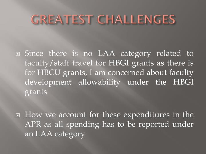 GREATEST CHALLENGES