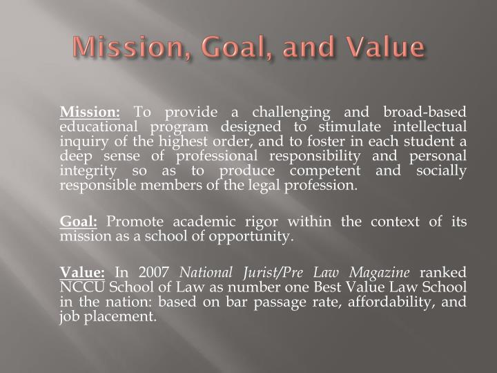 Mission goal and value